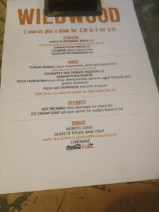 WildWood Menu